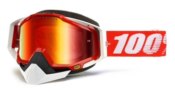 100% Racecraft Snowmobile Fire Crossglasögon Röd, Dubbel Rödspegel Ventilerad Siktskiva