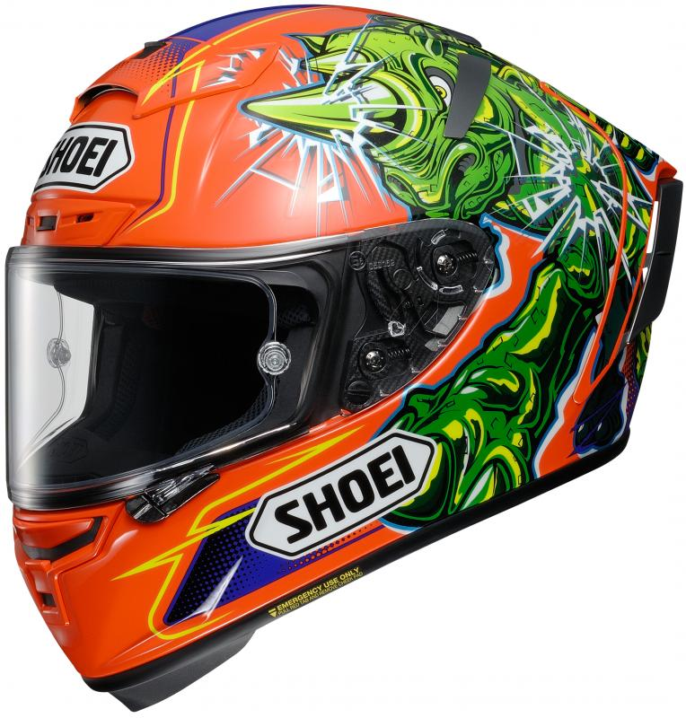 Shoei X-spirit 3 Power Rush TC-8 Hjälm Orange/Grön/Blå