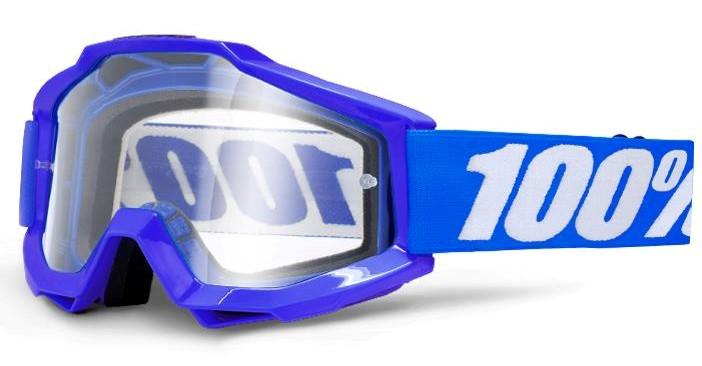 100% Accuri Reflex Blå Crossglasögon, Klar Siktskiva