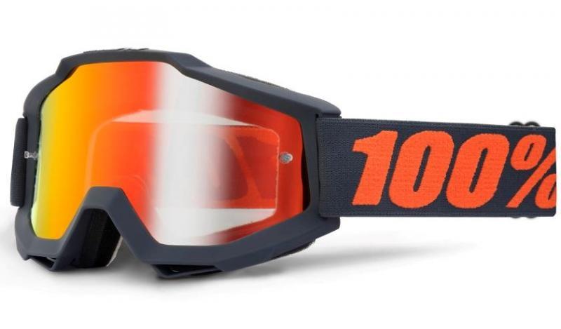 100% Accuri Gun Metal Crossglasögon, Rödspegel Siktskiva
