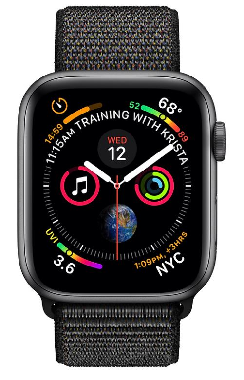 Apple Watch Series 4 GPS + Cellular Aluminiumboett 44mm i rymdgrått med sportloop i svart
