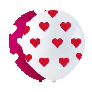 Ballonger med hjärtan i tryck röd & vit