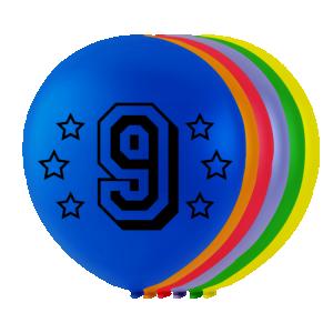 Latexballonger med siffran 9
