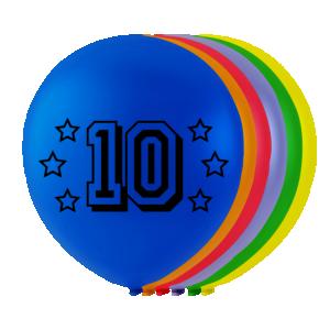 Latexballonger med siffran 10