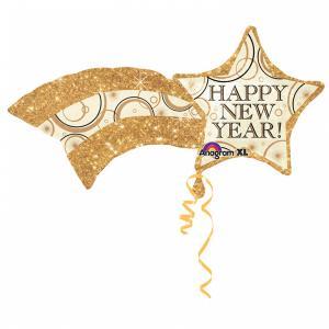 Happy new year stjärna i guld