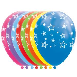 Latexballonger Stjärnor, i Blandade Färger 8-pack