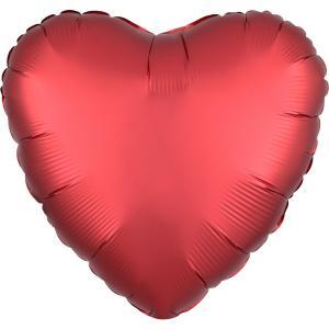 Folie ballong satin hjärta röd