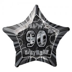 folieballong Födelsedag Stjärna Svart 90