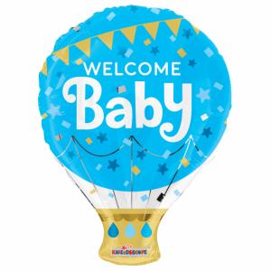 Folieballong welcome baby blå