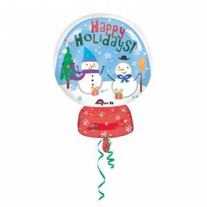 snöglob med happy holidays! folieballong