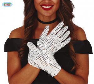 Paljett handskar Silver