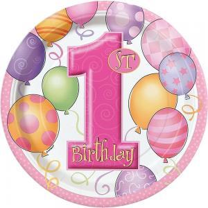 Första födelsedags tallrikar rosa