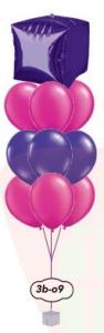 "9x12"" Ballong bukett+Orbz/fyrkant/diamant"