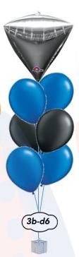 "6x12"" Ballong bukett+Orbz/fyrkant/diamant"