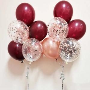 rubinrödkonfetti 7st latexballonger