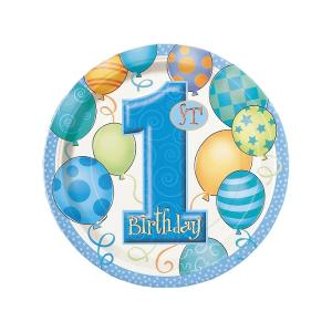 Första födelsedags tallrikar blå