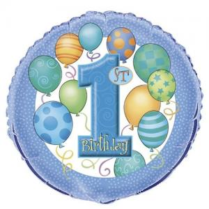ballong födelsedag  1år blå