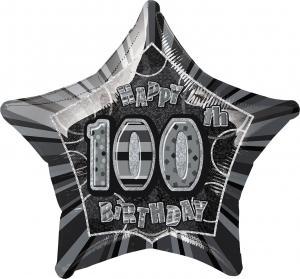 folieballong Födelsedag Stjärna Svart 100
