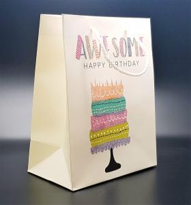 Presentpåse Awesome Happy b-day (medium size)