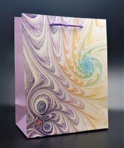 Presentpåse med glitter Symbios lila/gul Medium