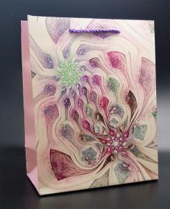 Presentpåse med glitter Symbios Grön/röd Medium
