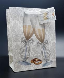Presentpåse med glitter Champagne glas Medium