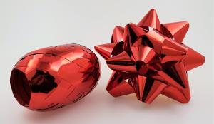 Rosett med presentband 6-pack Röd