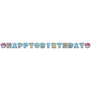 Pokemon Happy birthday banner i papper