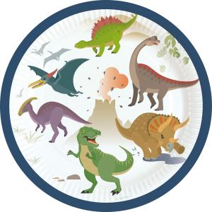 8-pack glada dinosaurier papperstallrikar
