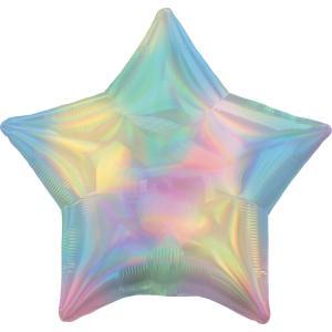 Holografisk iridescent pastel stjärn folie ballong