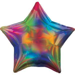 Holografisk iridescent regnbågs stjärn folie ballong
