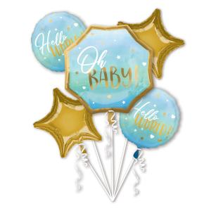 Blå baby boy folie ballongsbukett