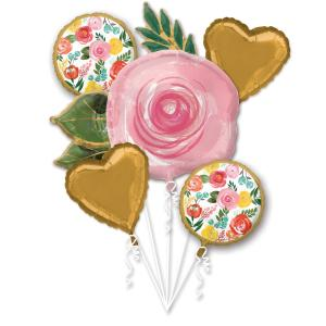 Ljus blommig folie-ballong bukett
