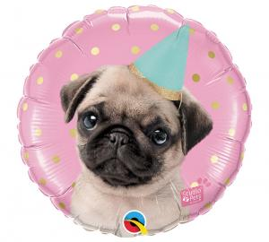 Cirkel Party Pug folieballong