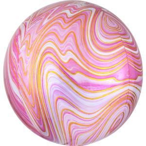 Marmorerad Rosa Orbz Heliumballong