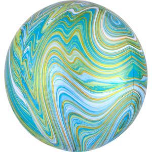 Marmorerad Grön/blå Orbz Heliumballong
