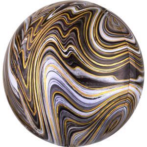 Marmorerad Svart Orbz Heliumballong