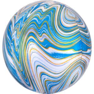 Marmorerad Blå Orbz Heliumballong