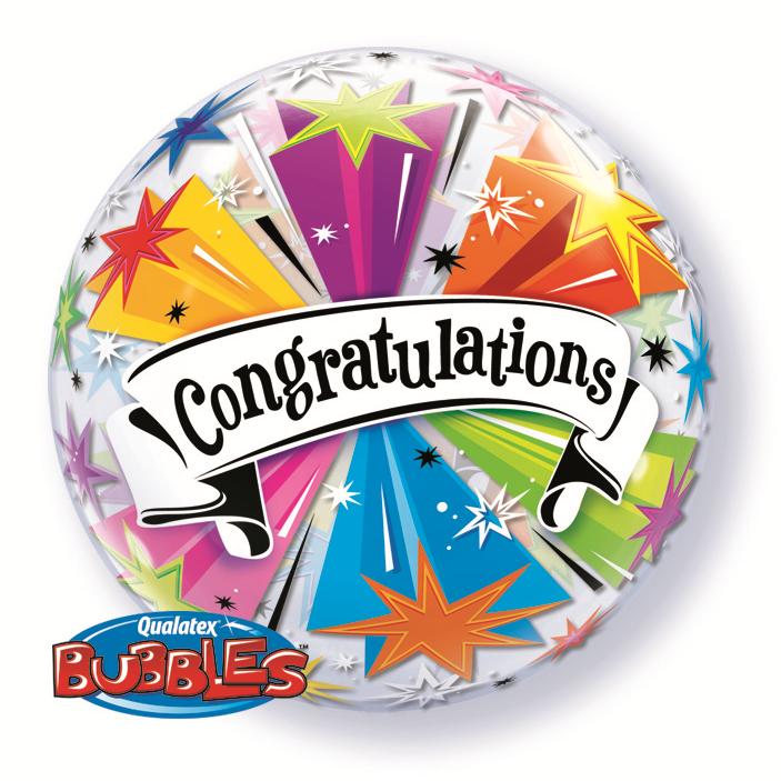 Heliumballong Bubbles Congratuations