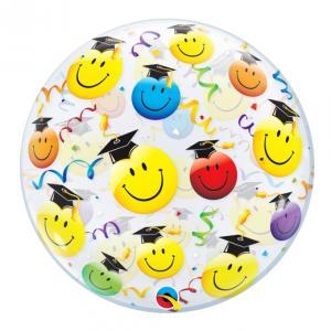 Heliumballong Bubbles Examenshattar med Smiley