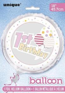 1st birthday helium ballong rosa