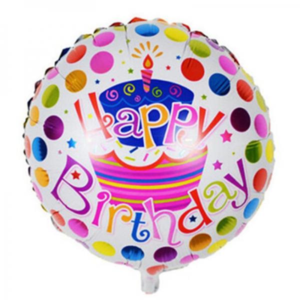 ballong födelsedag vit med tårta