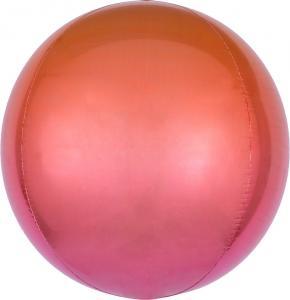 Ombre röd & orange Orbz XL helium ballong