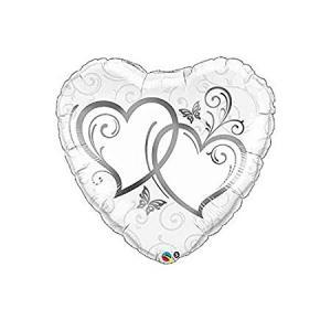 dubble hjärta silver heliumballong