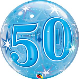 Bubbles ballong 50 år blå