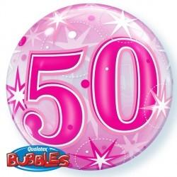 Bubbles ballong 50 år rosa