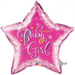 welcome baby girl folieballong stjärna