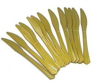 Plastknivar i guld 10-pack lyx