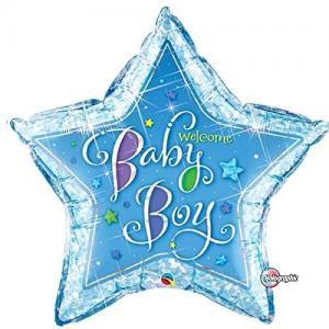 welcome baby boy folieballong stjärna