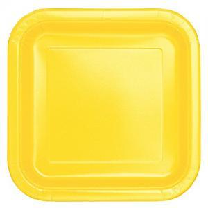 Fyrkantig gul papperstallrik